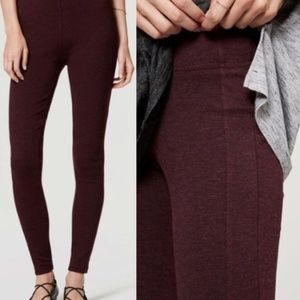 LOFT Seamed Ponte Leggings Burgundy Heather Medium